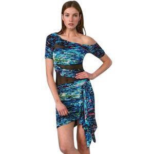 Bcbgmaxazria Runway Colorful Blue Mesh Dress | M